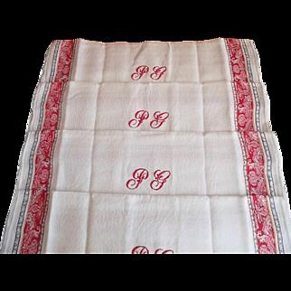 "French set of 4 antique genuine Art Nouveau lap linen napkins hand embroidered monogram ""PG"""