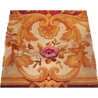 French antique genuine Aubusson tapestry fragment 19th century