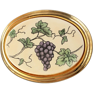 Barlow Hand Painted Scrimshaw-Style Grape Bunch and Vine Brooch
