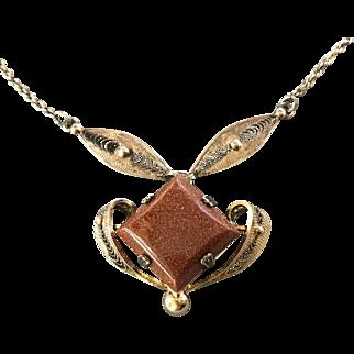 Sterling Silver Filigree and Polished Sandstone Necklace
