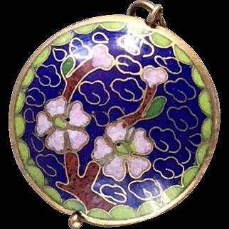 Deep Blue Cloisonné Pendant with Flower Design