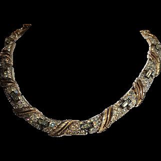 Trifari Aurora Borealis Rhinestones with Leaf Necklace