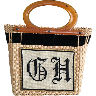 Straw Purse Needlepoint Initials with Velvet Trim