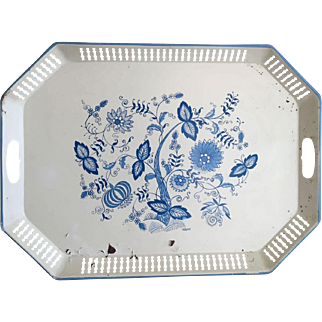 Vintage Maxey Tray with Blue Flowers