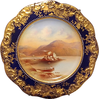 Great antique Aynsley hand painted porcelain cabinet plate signed by noted artist R J Keeling of Colleen Bawn Rock Killarney