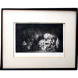 Amazing etching by French artist Auguste Brouet(1872-1941) titled The Franconi Circus great dark impression with Chiaroscuro effect signed numbered