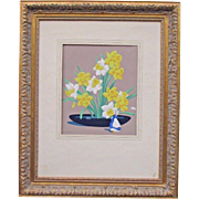Great antique original print of daffodils by Canadian Group of Seven artist A J Casson(1898-1992)