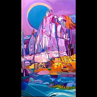 Well listed and famous Naples, Florida artist Sandi Badash large painting of Lake Powell on Colorado River between Utah and Arizona