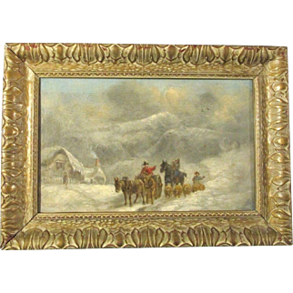 19th century oil painting of travellers in a big winter snow storm by well listed British artist John Joseph Barker of Bath(1824-1904)