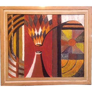 Superb 1960s Canadian cubist oil painting mid century piece signed with original label