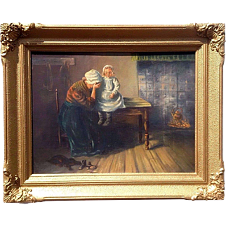 Spectacular 1930s era Dutch oil painting on canvas interior scene of mother and child dramatic image great piece