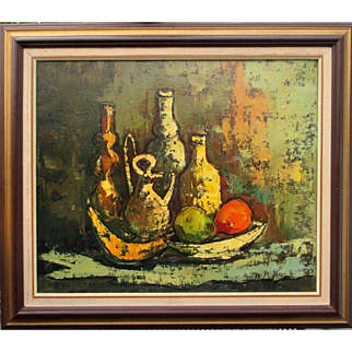 stunning mid century 1950s Eames era still life oil painting on canvas great quality piece