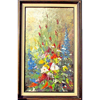Well listed Canadian artist Fernand Labelle(1934-2012) from Ottawa Ontario Abstract oil painting of wild flowers