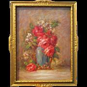 Listed antique 1930s Buffalo, New York artist Eugene Melancon(1861-1946)still life roses oil painting ornate original frame
