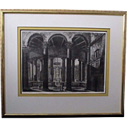 Large great old master etching engraving Rome by Luigi Rossini(1790-1850)depicting the Temple of Claudio circa 1822