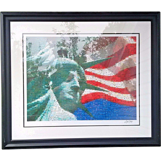 Well listed American artist Neil J. Farkas signed and numbered print incredible piece titled Statue and Flag 2005