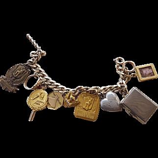 Vintage Gold 12K gf & 14K Charm Bracelet Olympics CSU Diamond Pearls Sterling Silver