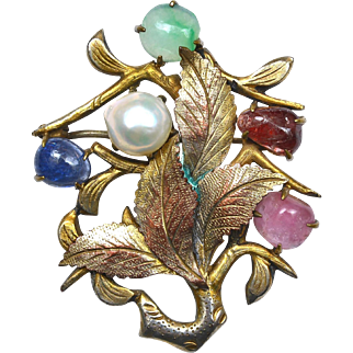 Early 20C Chinese Jadeite Tourmaline Cultured Pearl Sapphire Ruby Pin Brooch