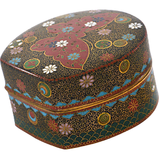 Old Japanese Gilt Wire Cloisonne Enamel Shippo Butterfly Box