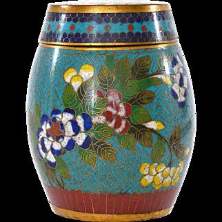 19th Century Chinese Gilt Cloisonne Enamel Tea Caddy Box Flowers