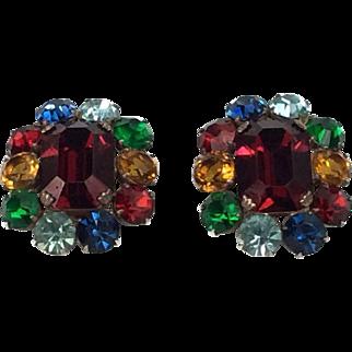 Vintage Chunky Multi Color Rhinestone Earrings