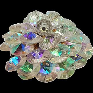 Vintage AB  Iridescent Crystal Cluster  Brooch