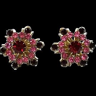 Vintage Coro Red and Pink Rhinestones Starburst Screw on Earrings
