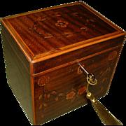 Georgian Inlaid Harewood Single Section Tea Caddy. C1790