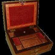 Quality Regency Inlaid Unisex Rosewood Jewellery Box. C1825