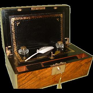 Brass Bound Walnut Writing Box. Secret Drawers. c1875