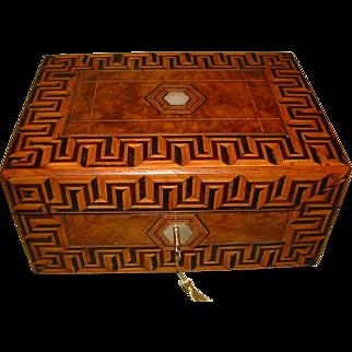 Tunbridge Ware Style Figured Walnut Jewellery Box + Tray. c1880