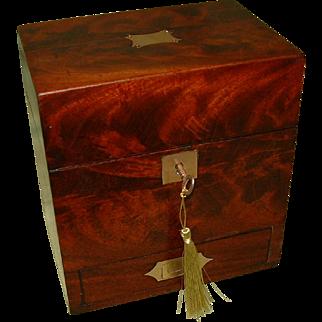 Inlaid Flame Mahogany Unisex Jewellery Box. Front Drawer. C1865