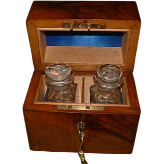 Inlaid Olive Wood Perfume Casket With Bottles. C1890