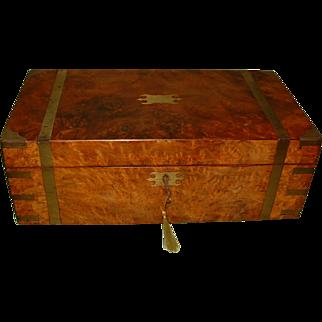 Large Campaign Style Walnut Writing Box. Secret Drawers. C1865