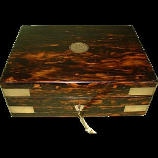 Brass Bound Coromandel Jewellery Box. C1870