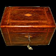 Inlaid Walnut Twin Section Tea Caddy. Original Lids. C1880
