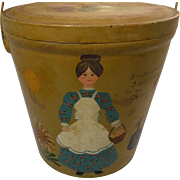 Folk Art Hand Painted Covered Pail