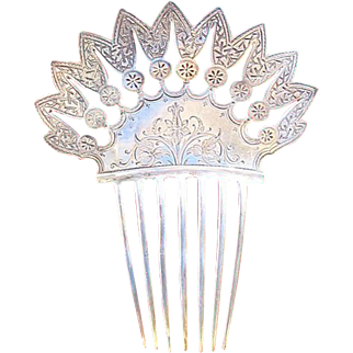 Sterling Silver Mantilla Style Hair Comb