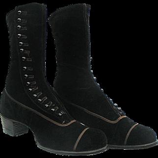 Victorian Black Velvet High Button Boots circa 1900