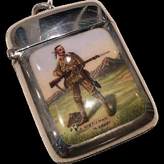 "1899 silver Birmingham ""A Gentleman in khaki"" enamel vesta case."
