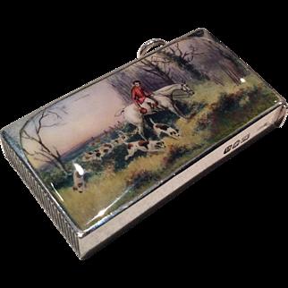1896 London silver and enamel vesta case-fine hunting scene by Sampson Morden & Co.