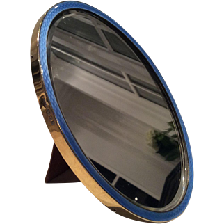 1922 London Blue Enamel and Silver Gilt Mirror by Coze Brothers