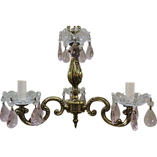 Brass And Pink Crystal Mini Chandelier Circa 1930's