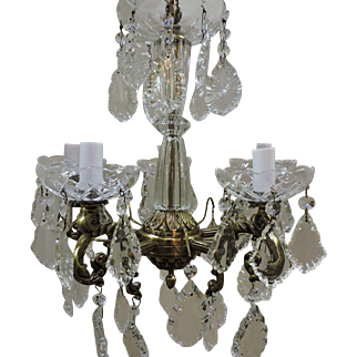 Brass And Crystal Mini Chandelier Circa 1930's