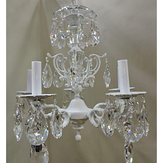 White over Brass And Crystal Chandelier Circa 1950's
