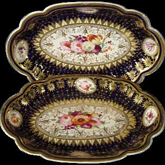 Impressive Pair of Chamberlain's Worcester or Coalport Porcelain Serving Dishes c.1815.