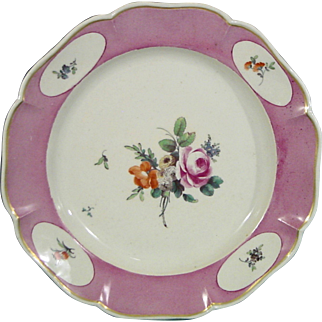 Extremely Rare C.1775 Antique German Ludwigsburg Plate with Powdered Purple Ground and Flower Bouquet.
