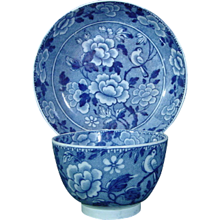 Antique Staffordshire Pearlware Teabowl and Saucer Printed in Blue with Peonies and a Bird c.1815.