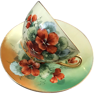 Signed by Artist, J.H. Stouffer HandPainted Cup and Saucer Set, Nasturtiums, O & EG Royal Austria