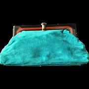 Green Suede Clutch Handbag with Plastic Frame